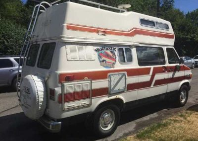 Campervan used for vacation rentals in British Columbia and is called the Easy Rider