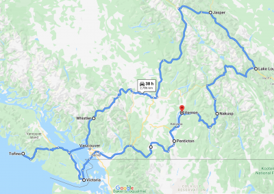 A map of the Canadian Rockies and Vancouver Island showing the best self directed staycation for RVing.